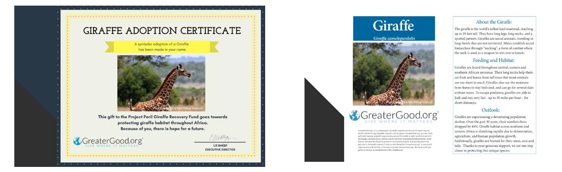 Donate To Project Peril Adopt A Giraffe Catalog 2017 2018
