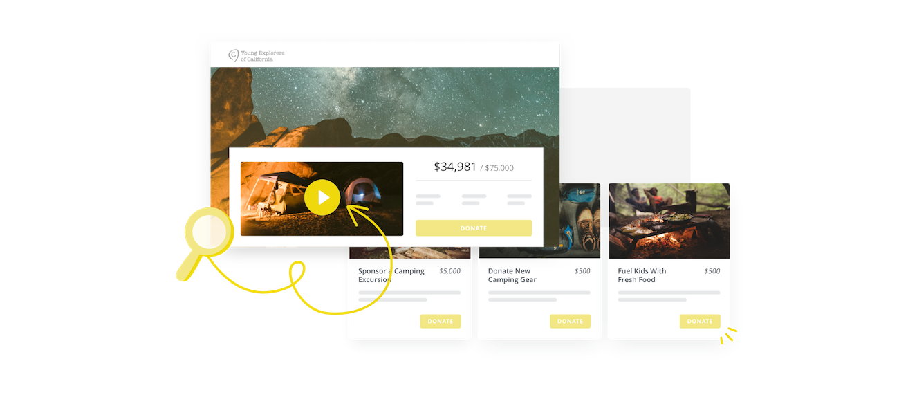 crowdfunding page example with sample impact blocks
