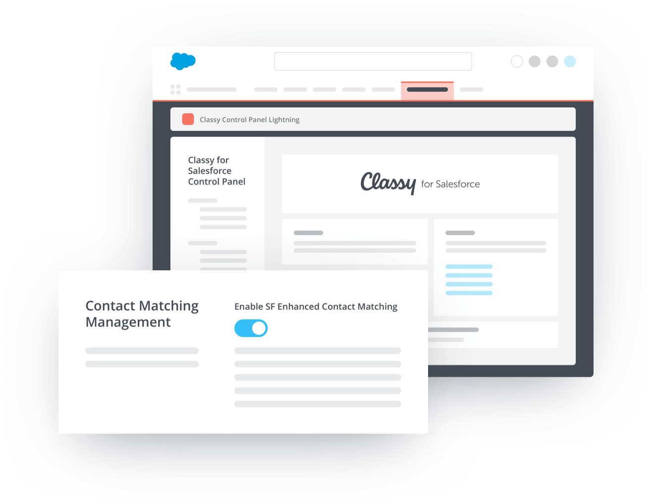 Example of Classy for Salesforce control panel with Contact Matching Management