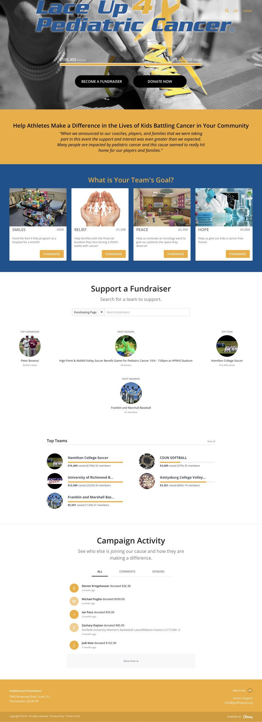 Lace Up 4 Pediatric Cancer , a Peer-to-Peer campaign on Classy.org