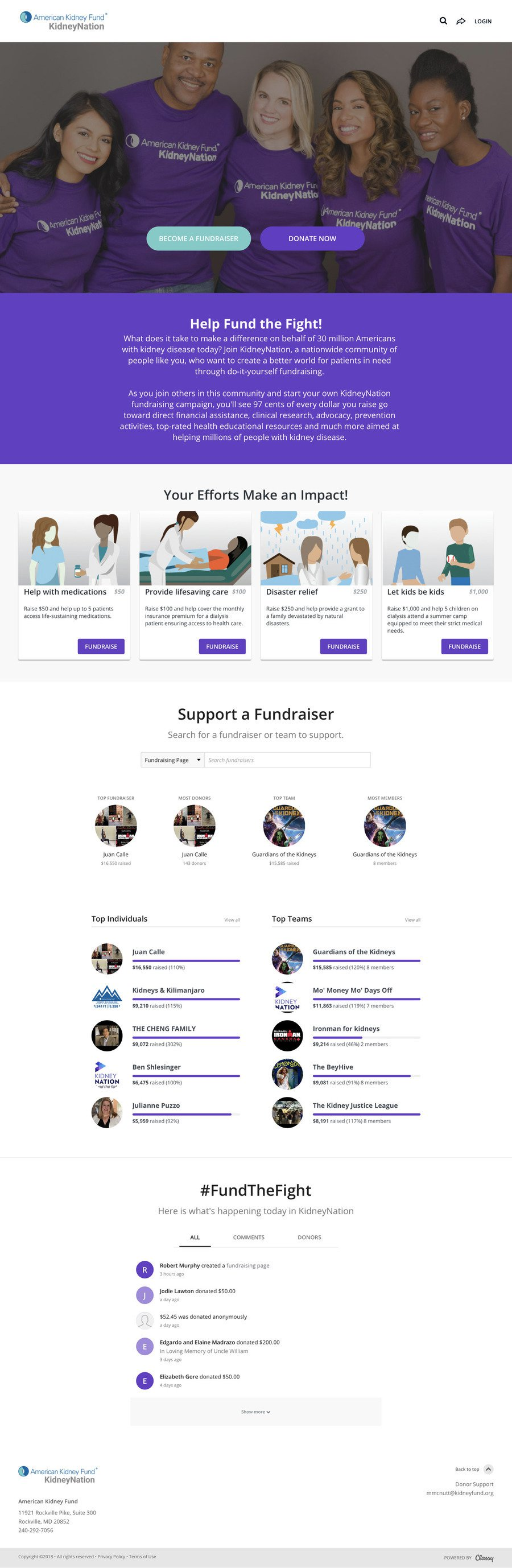 KidneyNation , a Peer-to-Peer campaign on Classy.org
