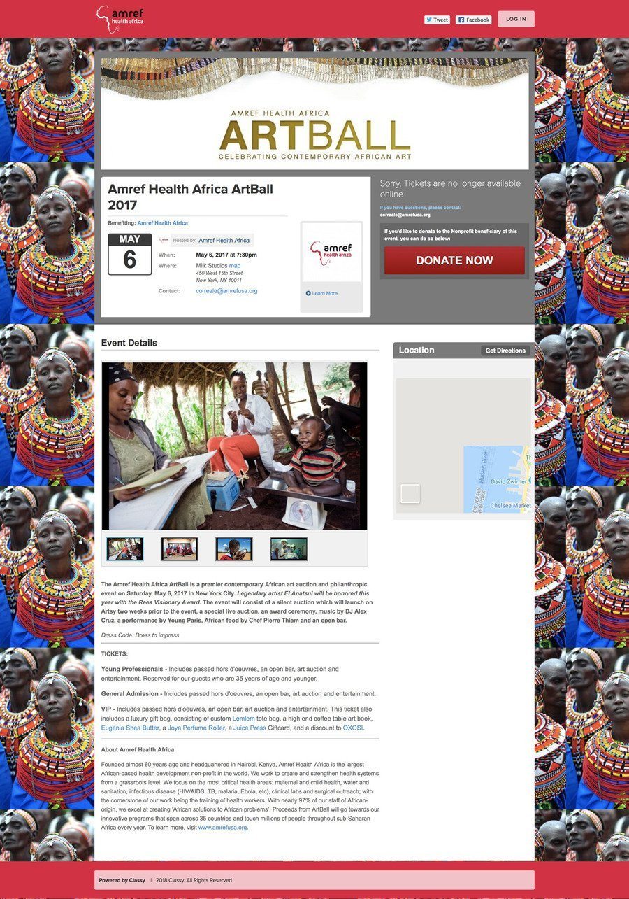 Amref Health Africa ArtBall 2017 , a Ticketed Event campaign on Classy.org