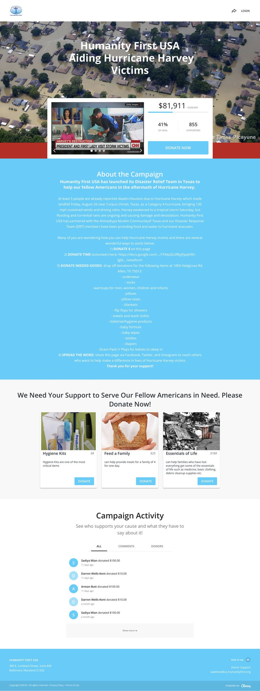 Humanity First USA Hurricane Harvey Relief , a Crowdfunding campaign on Classy.org