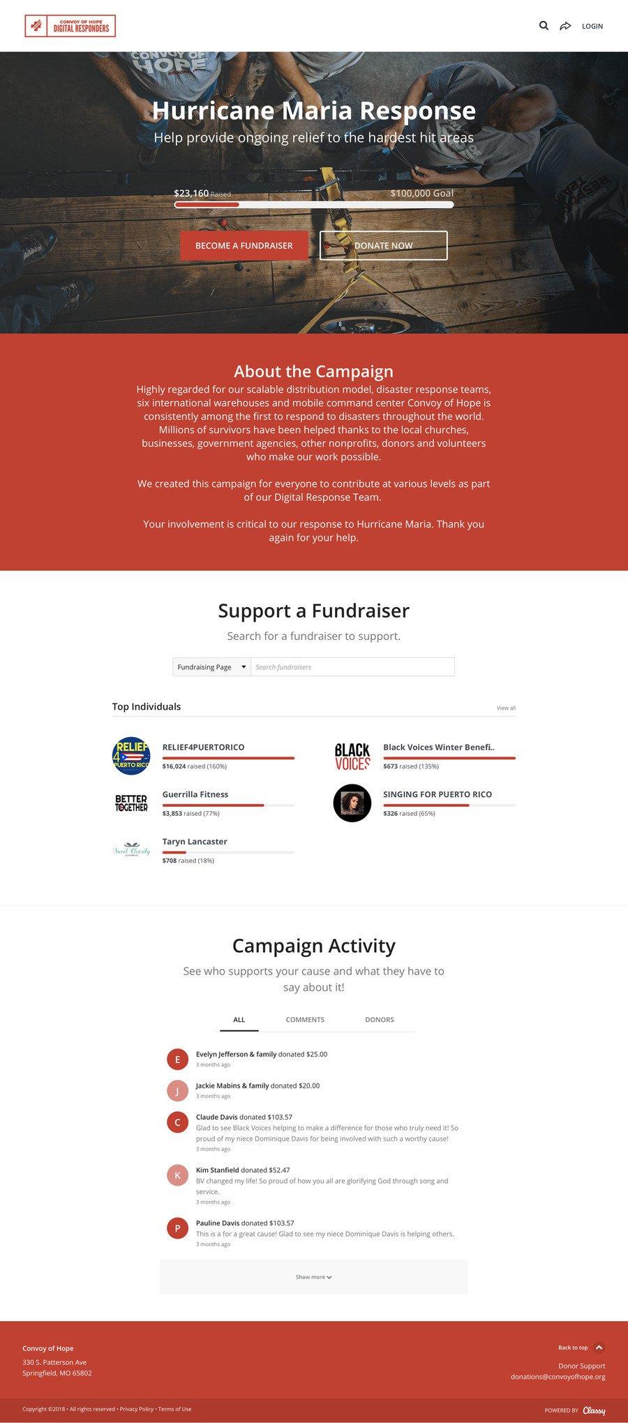 Convoy of Hope Digital Responders: Hurricane Maria , a Peer to Peer campaign on Classy.org