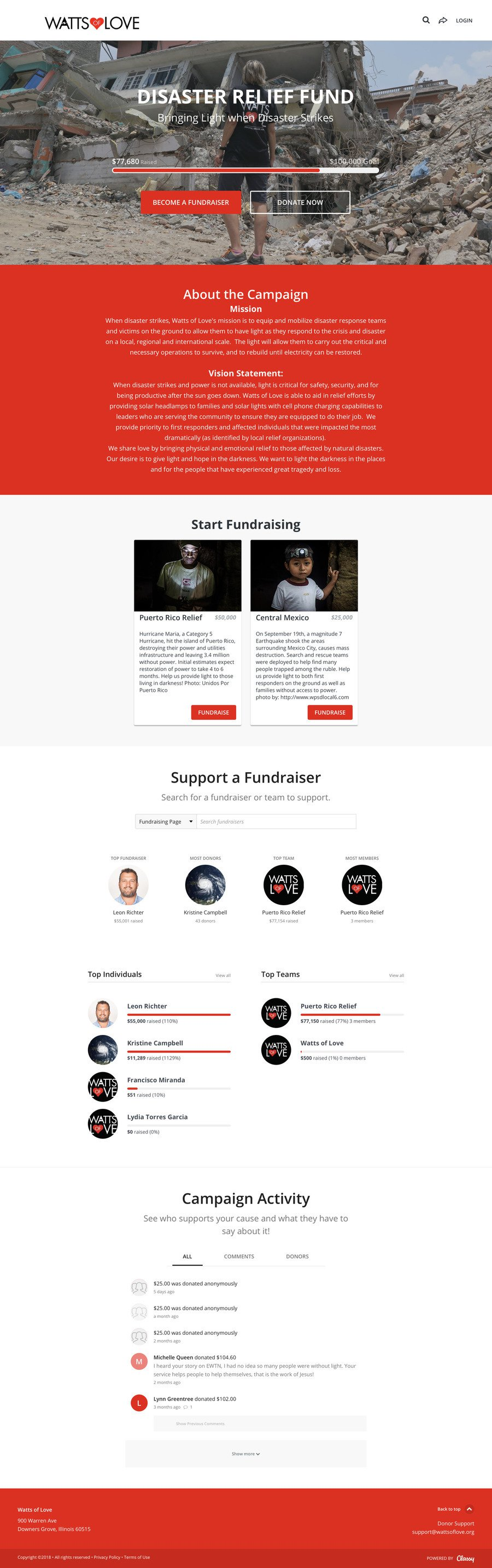 DISASTER RELIEF FUND , a Peer-to-Peer campaign on Classy.org
