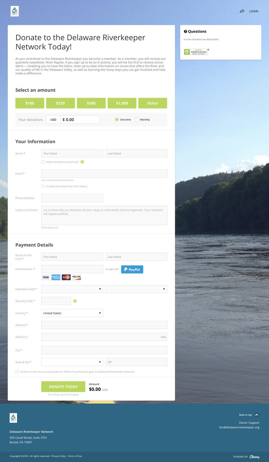 Donate to the Delaware Riverkeeper Network Today! , a Donation campaign on Classy.org