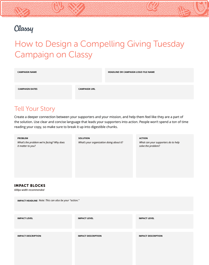 First page of our How To Design A Compelling Giving Tuesday Campaign resource