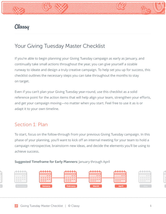 Visual of Giving Tuesday Master Checklist that's available with downloading resources