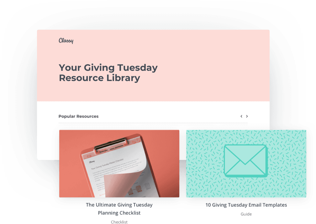 Sneak peak into resource library assets including The Ultimate Giving Tuesday Planning Checklist & Giving Tuesday Email Templates