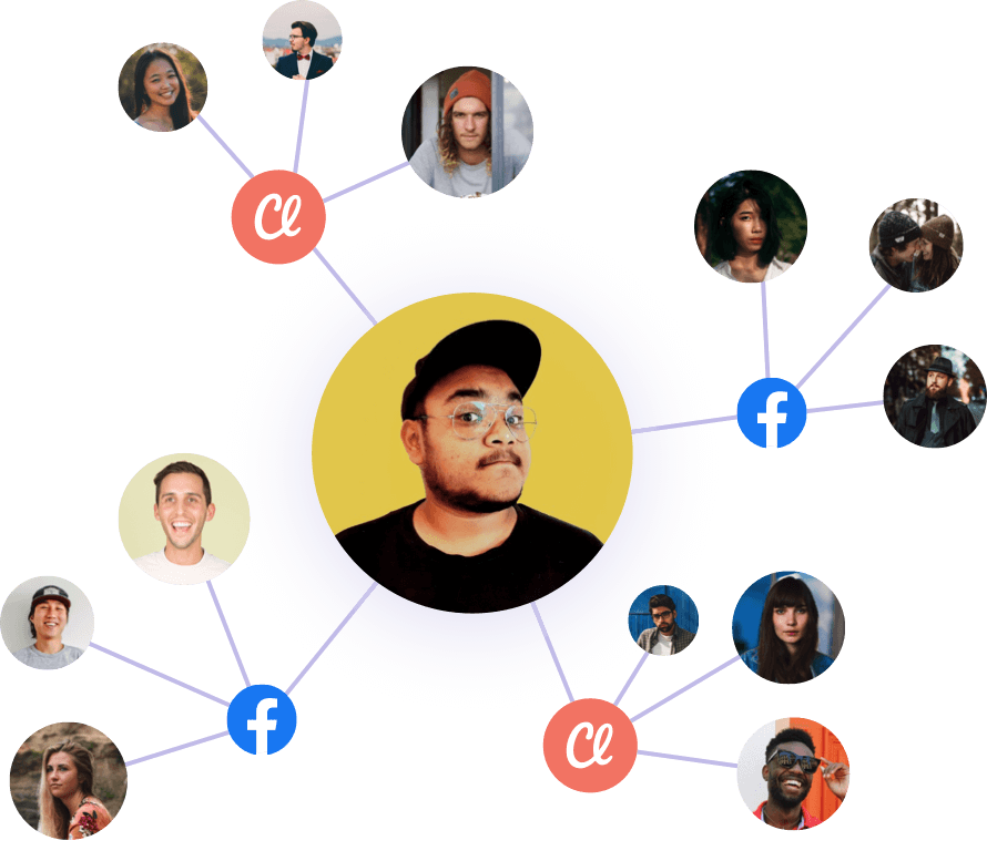 web of faces and connections available through Facebook and Classy platforms