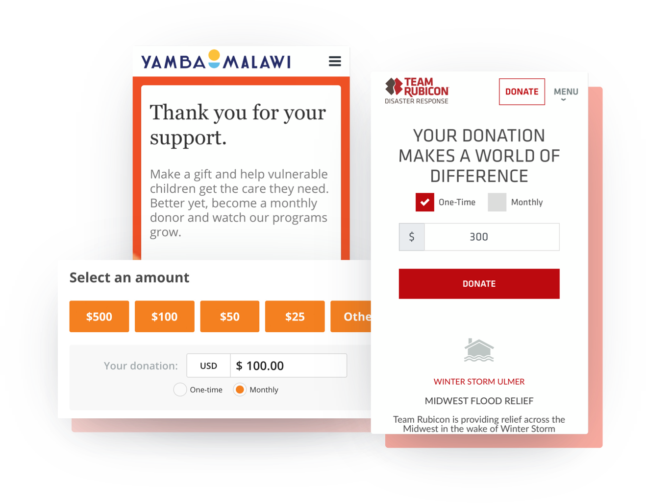 Mobile-optimized crowdfunding page example that showcases preset custom donation amounts & suggested donation amounts