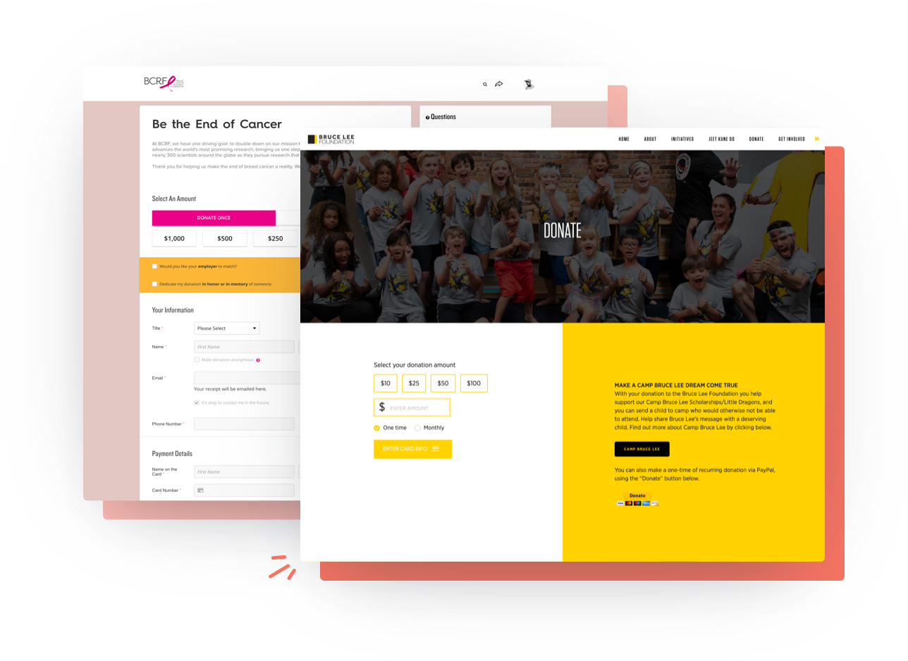 Two live examples of nonprofit branded and mobile responsive website donation pages