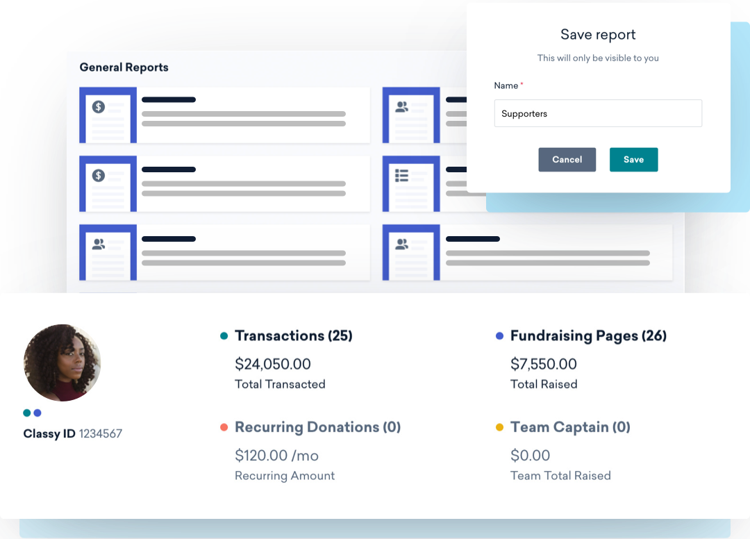 Example supporter management data including total raised and recurring donation amount