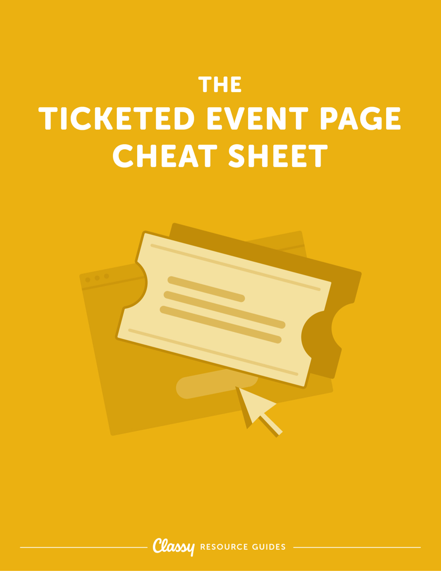 The Ticketed Event Page Cheat Sheet resource guide cover