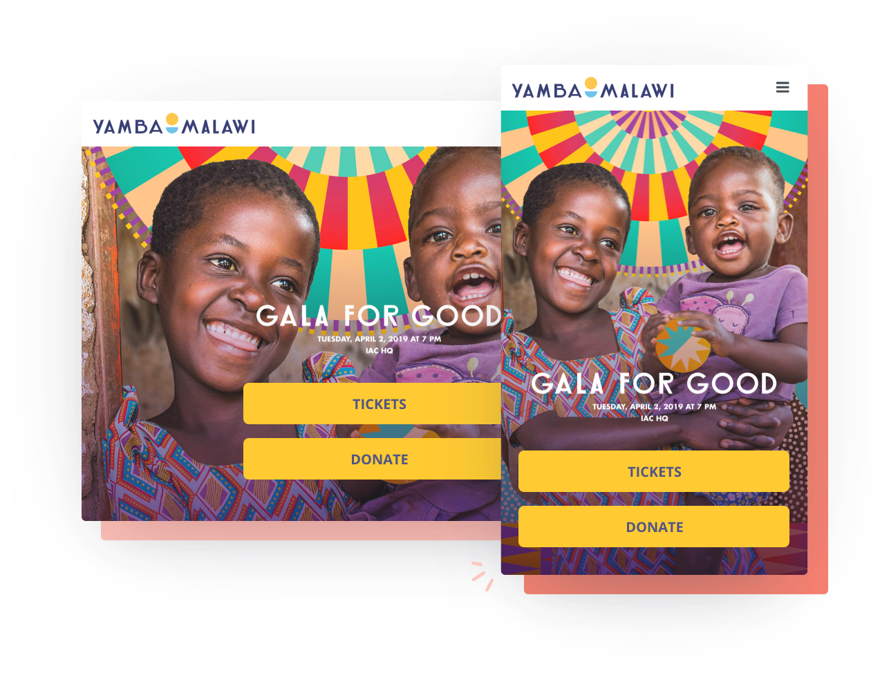Fundraising event and ticketing solution example showing Yamba Malawi Gala for Good event page on both desktop and mobile screens