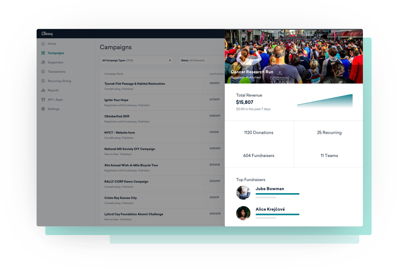 Campaign and event management dashboard with example data
