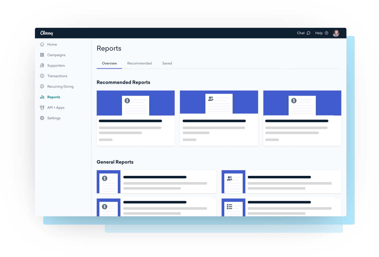 Reporting interface example to view and share data and donor insights