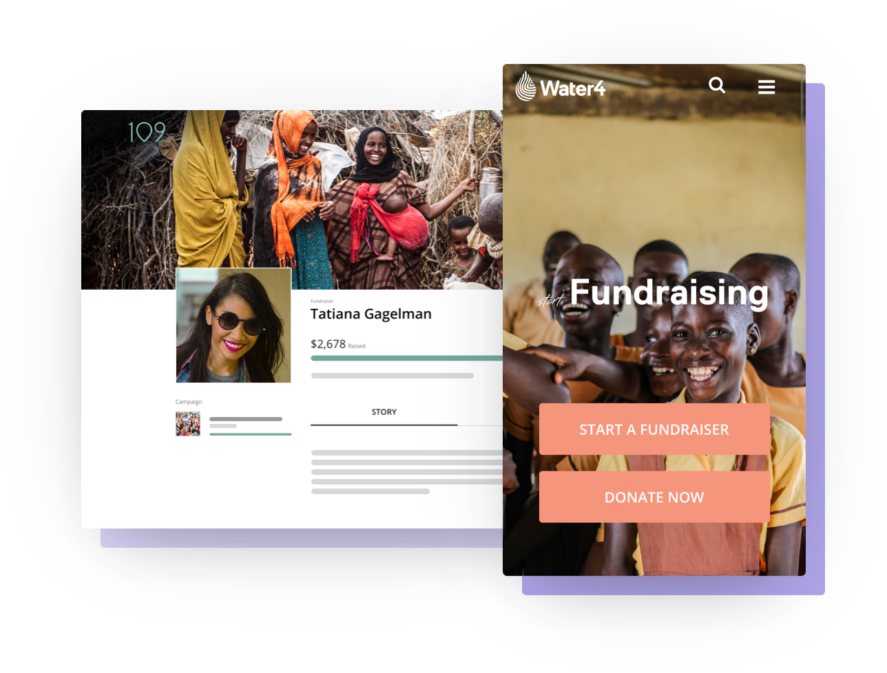 Peer-to-peer fundraising examples on both desktop and mobile devices