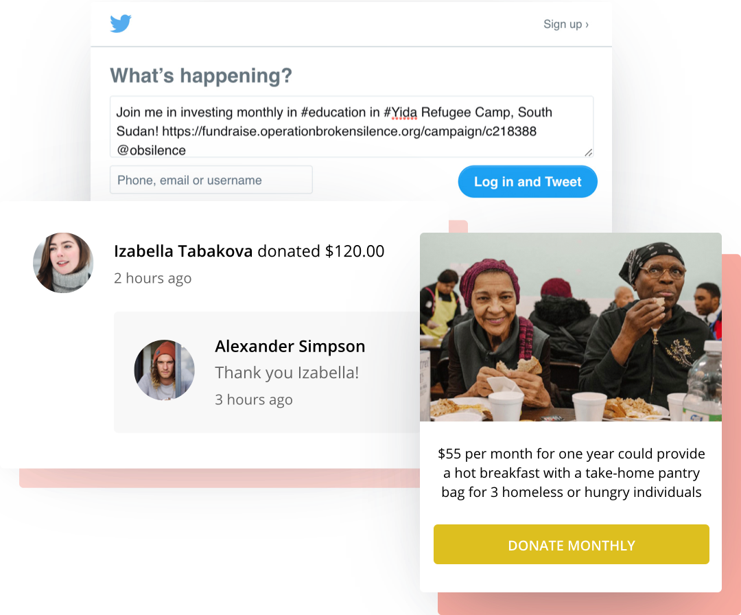 Ways to engage with recurring donors including prompt thank you messages, social sharing capabilities, and impact blocks