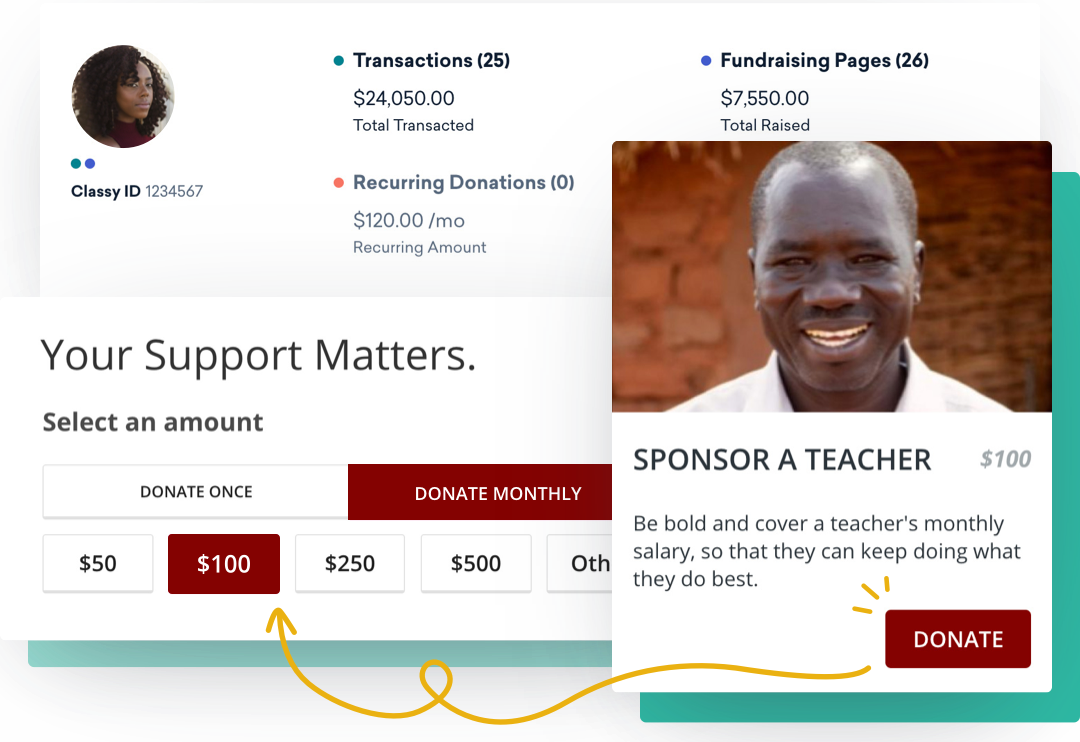 Recurring giving donor example from setting monthly donation amount to managing donor insights