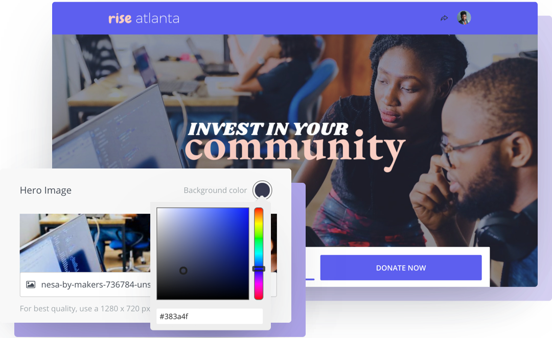 Rise Atlanta's fundraising campaign example with custom branding to match