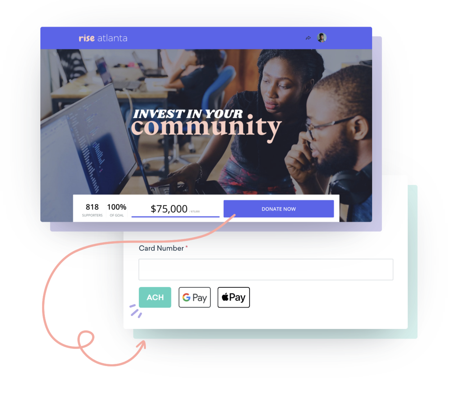 Donation page example with the option to give through mobile wallet